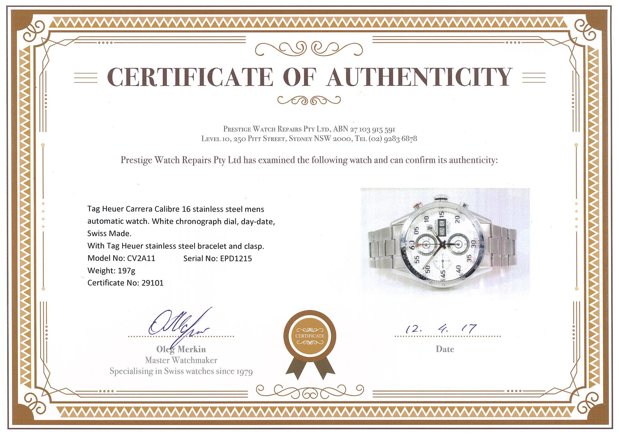 diamond certificate of authenticity template - tag heuer carrera mens watch first state auctions