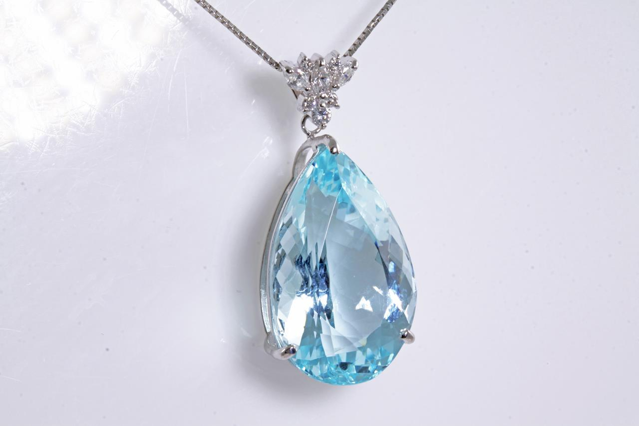 ct aquamarine in gold marine aqua white pendant necklace oval