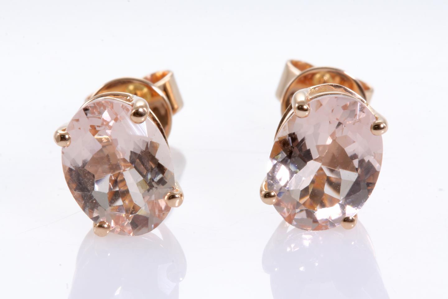 leah uk gold astley rose solid clarke stud morganite earrings
